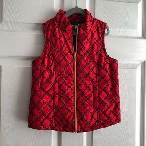 Girls medium red and black vest